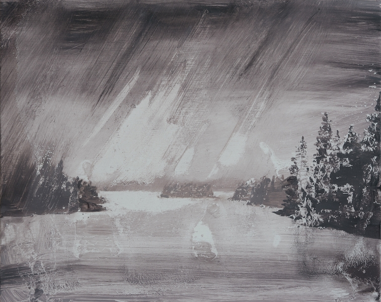 David Smith Wooded islands rain stormlight oil on birch ply 8x10 inches 2021
